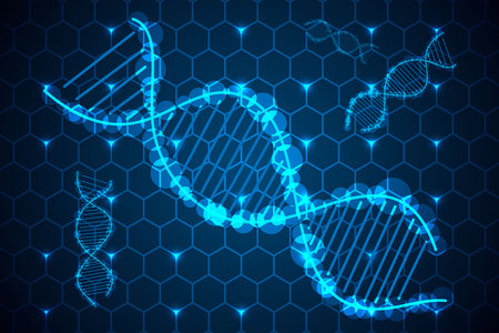 abstract science concept DNA hi tech on hexagon background