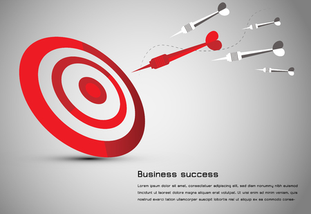 Abstract business idea consist red dart board means goal, red dart means successful leaders and white gray darts means followers.can use for web presentation idea or your design background.