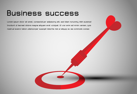 Abstract business concept dart red to goal center. use for web design or presentation business background