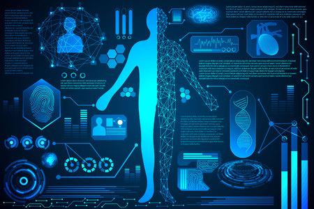Concept de technologie abstraite soins de santé numérique du corps humain, interface d'analyse de la santé et scan du corps pour vérifier l'identité, empreinte digitale, énergie pour la future conception du monde sur fond de haute technologie Vecteurs