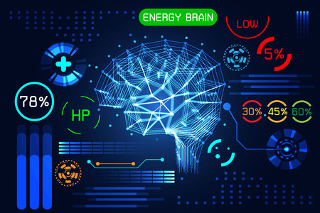 Abstract technology science concept energy brain link connection futuristic on hi tech blue background Ilustração