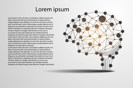 Abstract technology science concept brain digital link use for template, present, web, book on gray background. 일러스트