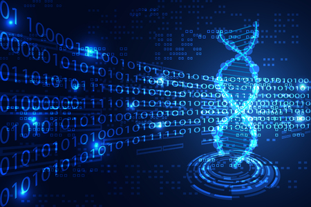 Abstract technology science concept DNA binary on hi-tech blue background. Stock Illustratie