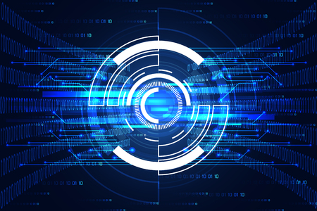 abstract technology concept circle digital link and binary hi tech on the future blue background