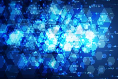 Abstract technology concept modern blue light hexagon on hi tech binary background