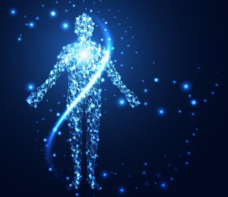 concept de technologie abstraite humaine lien réseau numérique sur fond salut-technologie .