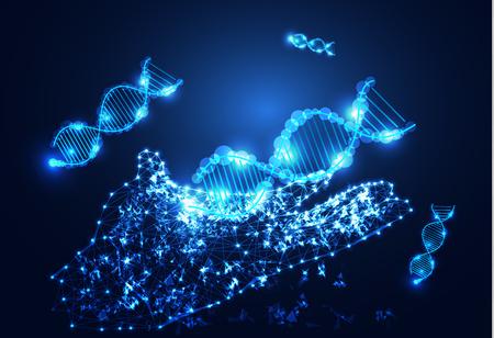 Abstract technology science concept hand digital link and DNA on hi-tech background. Illusztráció