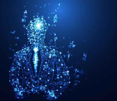Concepto de tecnología empresarial abstracto enlace digital de hombre de negocios sobre fondo de alta tecnología Ilustración de vector