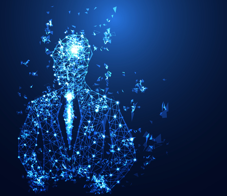 abstract business technology concept business man digital link on hi tech background