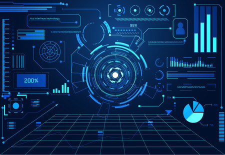 Abstract technology futuristic concept interface hologram elements of digital data chart, communication, computing and circle percent vitality innovation on  futuristic design background.