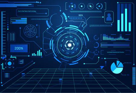 Technologie abstraite concept futuriste éléments d'hologramme d'interface de graphique de données numériques, communication, informatique et cercle pour cent vitalité innovation sur fond de conception futuriste.