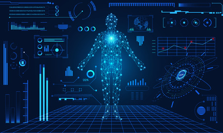 Abstract technology futuristic concept human interface hologram elements of digital data chart, communication, computing and circle percent innovation on futuristic blue background.