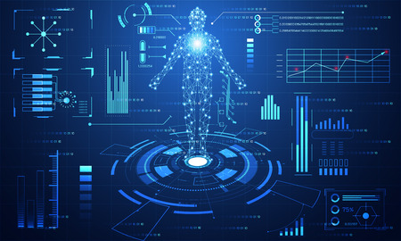 Abstract technology ui futuristic concept hud interface hologram elements of digital data chart.