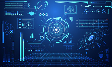 Abstract technology ui futuristic concept hud interface hologram elements of digital data chart, communication, computing and circle percent vitality innovation on high technology future design background. Vettoriali