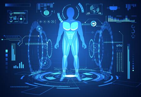 technologie abstraite ui concept futuriste interface hud humain éléments d'hologramme de graphique de données numériques, communication, informatique et cercle pour cent de vitalité innovation sur fond futur de haute technologie