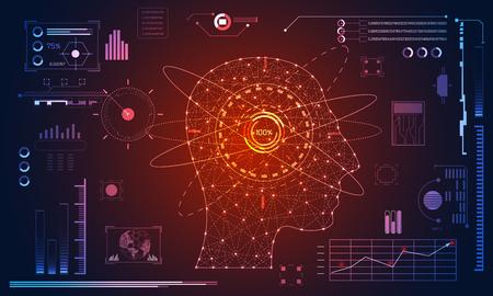 Abstrakte Gesundheitsmedizin besteht aus dem Kopf des menschlichen Digitaltechnologiekonzepts moderne Medizintechnik, Behandlung, Medizin auf High-Tech-Zukunftsblauhintergrund. für Vorlage, Webdesign oder Präsentation. Vektorgrafik