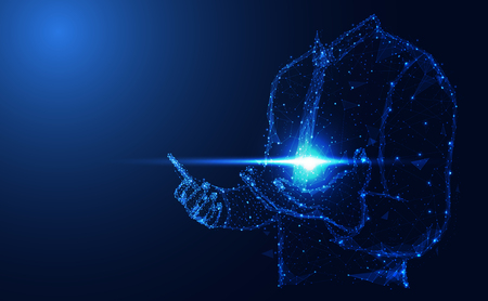 Abstrakte Technologie Linie Dreieck und Punkte Geschäftsmann Low Poly halten das Telefon in der Hand polygonale Zukunft modernen Drahtmodell auf Hi-Tech Zukunft blauen Hintergrund. für Vorlage, Webdesign oder Präsentation.