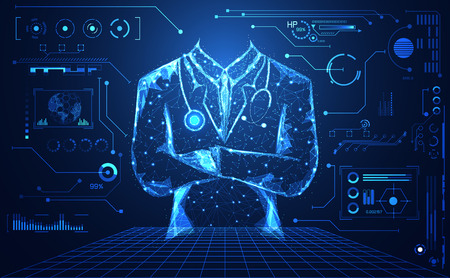 abstract health medical science consist doctor digital futuristic virtual hologram treatment,medicine and communication system link connection on  hi tech blue background.Vector Vectores