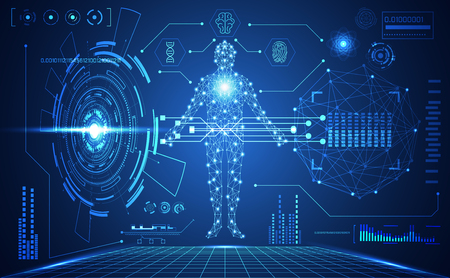 abstracte technologie ui futuristische menselijke medische hud interface hologramelementen van digitale gegevensgrafiek, DNA, vingerafdruk, Brain computing cirkel vitaliteit innovatie op hi-tech toekomstige ontwerpachtergrond Vector Illustratie