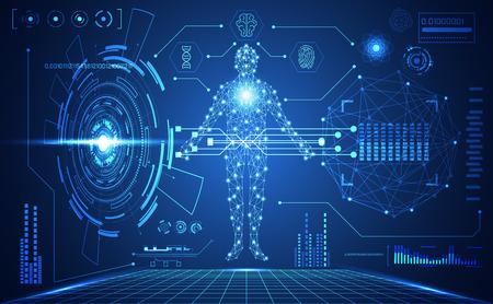 tecnología abstracta ui elementos de holograma de interfaz de hud médica humana futurista de gráfico de datos digitales, ADN, huella digital, innovación de vitalidad del círculo de computación cerebral en el fondo de diseño futuro de alta tecnología Ilustración de vector