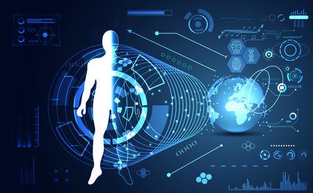 abstract technology ui futuristic concept hud interface hologram elements of digital data chart, communication, computing,human body digital health care ; world future design on hi tech background.