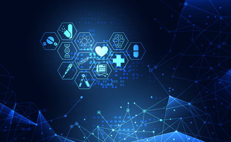 Abstract health medical science healthcare icon digital technology science concept modern innovation,Treatment,medicine on hi tech future blue background. for wallpaper, template, web design
