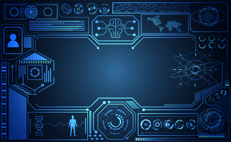abstract technology ui futuristic concept Ai hud interface hologram elements of digital data chart, communication, computing and circle percent vitality innovation on hi tech future design background