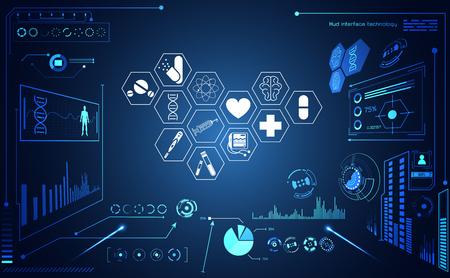 抽象的な健康医学のUI未来的なhudインターフェイスホログラム科学ヘルスケアアイコンデジタル技術科学概念現代の革新、治療、ハイテクの将来の青い背景に薬