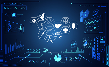 Abstract health medical ui futuristic hud interface hologram science healthcare icon digital technology science concept modern innovation,Treatment,medicine on hi tech future blue background