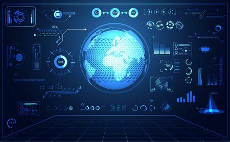 abstract technology ui futuristic concept world digital hud interface hologram elements of digital data chart, communication, circle percent vitality innovation on hi tech future design background Vektorové ilustrace