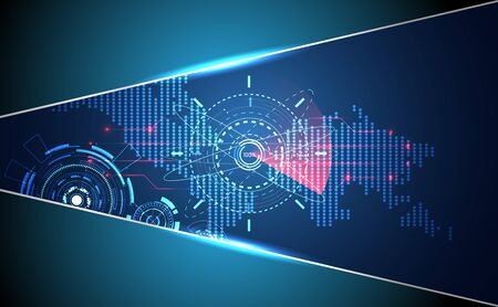 abstract technology ui futuristic concept map scan people hologram elements of digital data chart, world search, computing and network vitality innovation on hi tech future design background