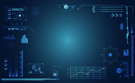 abstract technology ui futuristic concept hud interface hologram elements of digital data chart, communication, computing and circle percent vitality innovation on hi tech future design background Vektorové ilustrace