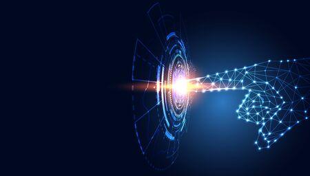 Triangle de ligne de technologie abstraite et points main low poly futur filaire moderne sur fond bleu futur salut tech. Vecteurs