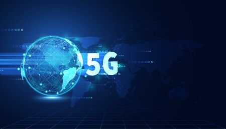 5G wireless internet technology Concept background wifi communication connection and business with global network high speed innovation connection vector illustration.