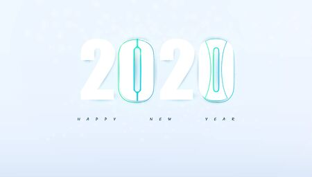 Happy New Year 2020 hi tech modern abstract background.vector illustration.