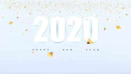 Happy New Year 2020 concept modern abstract background party poster with gold glitter and confetti glitter decoration.vector illustration.