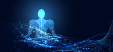 Abstract technology digital health medical concept human digital background on hi tech blue healthcare.Vector Illustration. 向量圖像