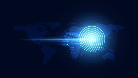 Blue abstract image that is futuristic with finger prints concept. Theft detection Prevention of cyber threats That is using security systems.