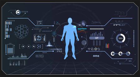 abstract health technology ui futuristic hud human interface hologram elements of digital data chart, communication, computing and innovation on hi tech future design background 向量圖像