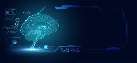 abstract technology ui futuristic concept brain hologram elements of digital data chart, communication, computing and circle percent vitality innovation on hi tech future design background