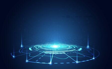 Modern Abstract technology concept communication circle digital circuits on blue background and arrow innovation hi tech future design background,vector illustration