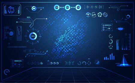 abstract technology ui futuristic concept hud interface hologram elements of digital data chart, communication, circle percent vitality innovation on hi tech future design background 向量圖像