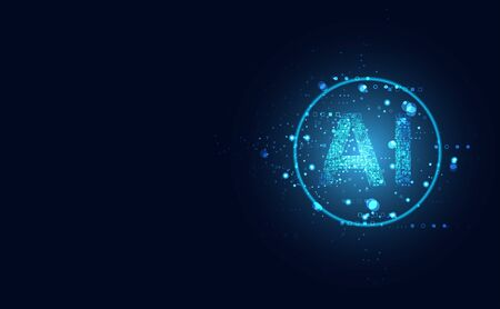 Abstract technology Ai computing on circle concept working data of Artificial intelligence and futuristic digital for future on dark blue background.