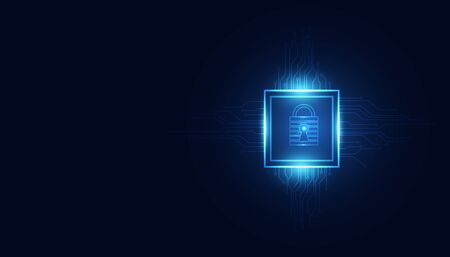 Abstract technology cyber security square ai privacy information network concept padlock protection digital network internet link on hi tech blue future background