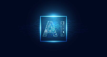 Abstract technology Ai computing chipset on circuit board concept working data of Artificial intelligence and futuristic digital for future on dark blue background.