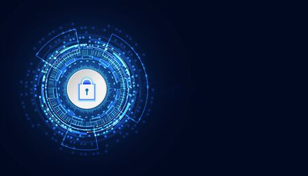 Abstract blue image with modern futuristic background personalized key lock Related to cyber defense Theft prevention Concept Cyber Security.
