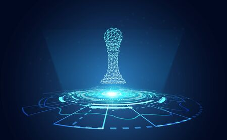 abstract chess wireframe with circle technology on copy space futuristic hi tech modern gradient and light.vector illustration.
