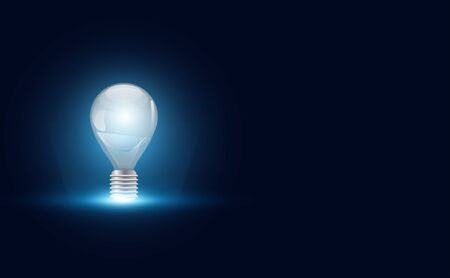 abstract idea with Light bulb on copy space futuristic hi tech modern gradient and light.vector illustration.