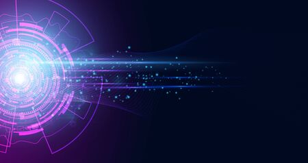 Abstract technology hi tech background concept  circle speed movement motion blur moving fast in the light for template design dark blue .Vector illustration