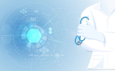 Abstract doctor close up in hospital gown lab coat uniforms with holding stethoscope concept health and medical on blue background.